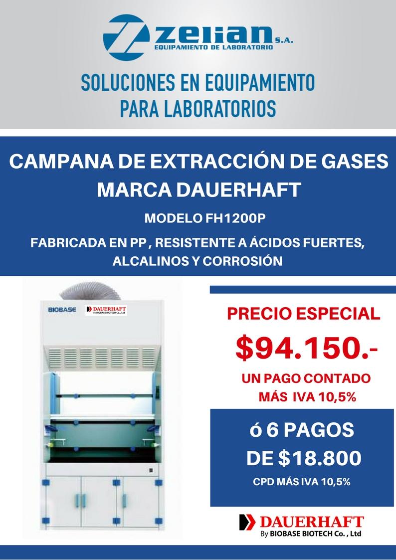 PROMO CAMPANA DE EXTRACCIÓN DE GASES Zelian equipamiento para laboratorio Dauerhaft