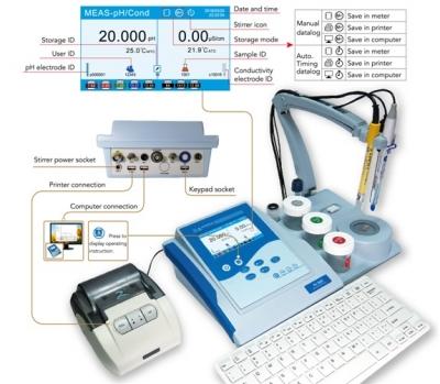 Medidor multiparamétrico de mesa con agitación GMP/GLP, marca Apera, modelo PC9500.