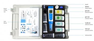 Medidor multiparámetro portátil de pH/EC/TDS/Salinidad/Temperatura. Marca Apera USA, Modelo PC60 Premium