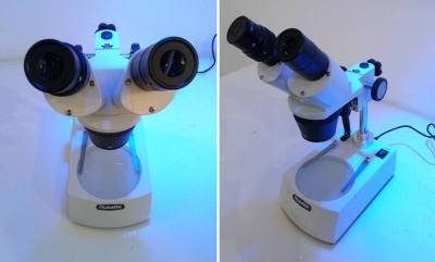 Lupa Binocular estereoscópica con doble iluminación, 20/40 X, iluminación led a baterías. Marca Numak, modelo ST30 2L