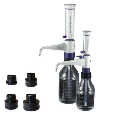 Dispensador autoclavable con 4 adaptadores, 1 - 10 ml. Marca Accumax
