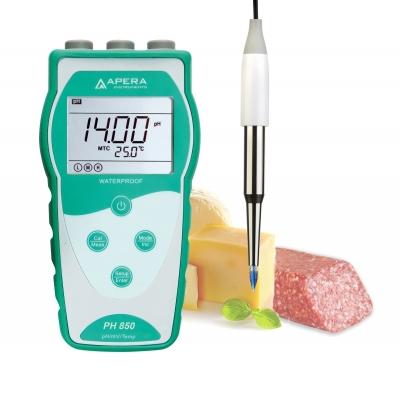 Medidor de pH (pHmetro) portátil para muestras de alimentos y semisólidas, equipado con sonda de punta LanSen 753, marca Apera, modelo PH850-SS
